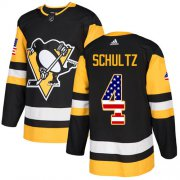 Wholesale Cheap Adidas Penguins #4 Justin Schultz Black Home Authentic USA Flag Stitched NHL Jersey