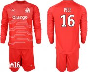 Wholesale Cheap Marseille #16 Pele Red Goalkeeper Long Sleeves Soccer Club Jersey