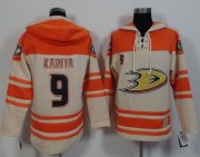 Wholesale Cheap Ducks #9 Paul Kariya Cream/Orange Sawyer Hooded Sweatshirt Stitched NHL Jersey