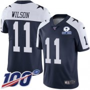 Wholesale Cheap Nike Cowboys #11 Cedrick Wilson Navy Blue Thanksgiving Men's Stitched With Established In 1960 Patch NFL 100th Season Vapor Untouchable Limited Throwback Jersey