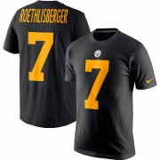 Wholesale Cheap Nike Pittsburgh Steelers #7 Ben Roethlisberger Color Rush 2.0 Name & Number T-Shirt Black
