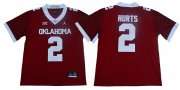 Wholesale Cheap Oklahoma Sooners 2 Jalen Hurts Red 47 Game Winning Streak College Football Jersey