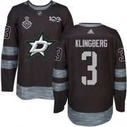 Wholesale Cheap Adidas Stars #3 John Klingberg Black 1917-2017 100th Anniversary 2020 Stanley Cup Final Stitched NHL Jersey