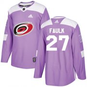 Wholesale Cheap Adidas Hurricanes #27 Justin Faulk Purple Authentic Fights Cancer Stitched Youth NHL Jersey