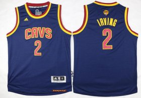 Wholesale Cheap Men\'s Cleveland Cavaliers #2 Kyrie Irving Navy Blue 2017 The NBA Finals Patch Jersey