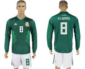 Wholesale Cheap Mexico #8 H.Lozano Home Long Sleeves Soccer Country Jersey