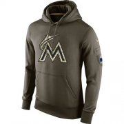Wholesale Cheap Men's Miami Marlins Nike Olive Salute To Service KO Performance Hoodie