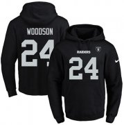 Wholesale Cheap Nike Raiders #24 Charles Woodson Black Name & Number Pullover NFL Hoodie