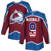 Wholesale Cheap Adidas Avalanche #9 Lanny McDonald Burgundy Home Authentic USA Flag Stitched Youth NHL Jersey