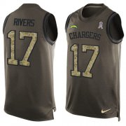 Wholesale Cheap Nike Chargers #17 Philip Rivers Green Men's Stitched NFL Limited Salute To Service Tank Top Jersey