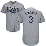 Wholesale Cheap Rays #3 Evan Longoria Grey Flexbase Authentic Collection Stitched MLB Jersey