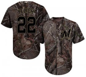 Wholesale Cheap Brewers #22 Christian Yelich Camo Realtree Collection Cool Base Stitched Youth MLB Jersey