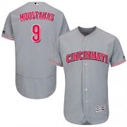 Wholesale Cheap Reds #9 Mike Moustakas Grey Flexbase Authentic Collection Stitched MLB Jersey
