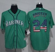 Wholesale Cheap Mariners #24 Ken Griffey Green USA Flag Fashion Stitched MLB Jersey