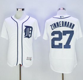 Wholesale Tigers #27 Jordan Zimmermann White Flexbase Authentic Collection Stitched Baseball Jersey