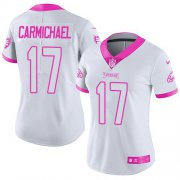 Wholesale Cheap Nike Eagles #17 Harold Carmichael White/Pink Women's Stitched NFL Limited Rush Fashion Jersey