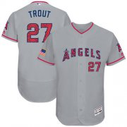 Wholesale Cheap Angels of Anaheim #27 Mike Trout Grey Fashion Stars & Stripes Flexbase Authentic Stitched MLB Jersey