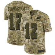 Wholesale Cheap Nike Eagles #12 Randall Cunningham Camo Youth Stitched NFL Limited 2018 Salute to Service Jersey