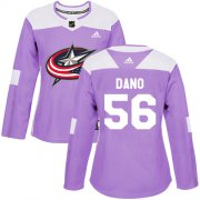 Wholesale Cheap Adidas Blue Jackets #56 Marko Dano Purple Authentic Fights Cancer Women's Stitched NHL Jersey