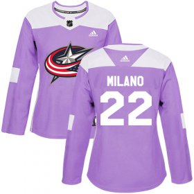 Wholesale Cheap Adidas Blue Jackets #22 Sonny Milano Purple Authentic Fights Cancer Women\'s Stitched NHL Jersey
