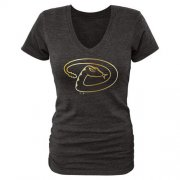 Wholesale Cheap Women's Arizona Diamondbacks Fanatics Apparel Gold Collection V-Neck Tri-Blend T-Shirt Black