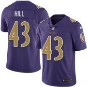 Wholesale Cheap Nike Ravens #43 Justice Hill Purple Men's Stitched NFL Limited Rush Jersey