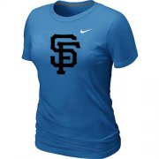 Wholesale Cheap Women's San Francisco Giants Heathered Nike Light Blue Blended T-Shirt