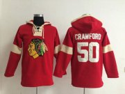 Wholesale Cheap Chicago Blackhawks #50 Corey Crawford Red Pullover NHL Hoodie