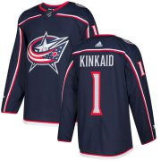 Wholesale Cheap Adidas Blue Jackets #1 Keith Kinkaid Navy Blue Home Authentic Stitched NHL Jersey