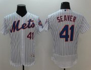 Wholesale Mets #41 Tom Seaver White(Blue Strip) Flexbase Authentic Collection Stitched Baseball Jersey