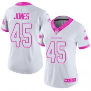 Wholesale Cheap Nike Falcons #45 Deion Jones White/Pink Women's Stitched NFL Limited Rush Fashion Jersey