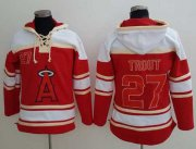 Wholesale Cheap Angels of Anaheim #27 Mike Trout Red Sawyer Hooded Sweatshirt MLB Hoodie