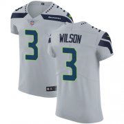 Wholesale Cheap Nike Seahawks #3 Russell Wilson Grey Alternate Men's Stitched NFL Vapor Untouchable Elite Jersey