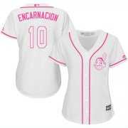 Wholesale Cheap Indians #10 Edwin Encarnacion White/Pink Fashion Women's Stitched MLB Jersey