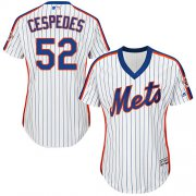 Wholesale Cheap Mets #52 Yoenis Cespedes White(Blue Strip) Alternate Women's Stitched MLB Jersey