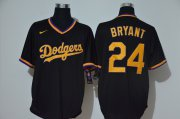 Wholesale Cheap Los Angeles Dodgers #24 Kobe Bryant Men's Nike Black Golden No. Cool Base MLB Jersey