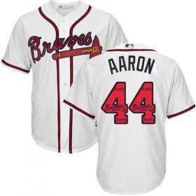 Wholesale Cheap Braves #44 Hank Aaron White Team Logo Fashion Stitched MLB Jersey