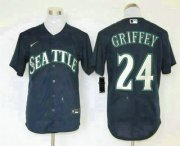 Wholesale Cheap Men's Seattle Mariners #24 Ken Griffey Jr. Navy Blue Stitched MLB Cool Base Nike Jersey