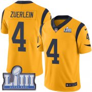 Wholesale Cheap Nike Rams #4 Greg Zuerlein Gold Super Bowl LIII Bound Men's Stitched NFL Limited Rush Jersey