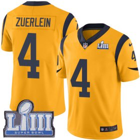 Wholesale Cheap Nike Rams #4 Greg Zuerlein Gold Super Bowl LIII Bound Men\'s Stitched NFL Limited Rush Jersey