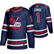 Wholesale Cheap Winnipeg Jets #1 Eric Comrie Men's 2019-20 Heritage Classic Wha Navy Stitched NHL Jersey