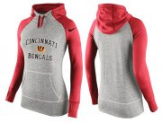 Wholesale Cheap Women's Nike Cincinnati Bengals Performance Hoodie Grey & Red_2