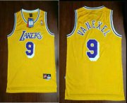 Wholesale Cheap Men's Los Angeles Lakers #9 Nick Van Exel Yellow Hardwood Classics Soul Swingman Throwback Jersey