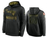 Wholesale Cheap Men's New England Patriots Custom Black 2020 Salute To Service Sideline Performance Pullover Hoodie