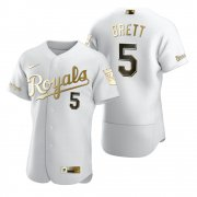 Wholesale Cheap Kansas City Royals #5 George Brett White Nike Men's Authentic Golden Edition MLB Jersey