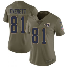 Wholesale Cheap Nike Rams #81 Gerald Everett Olive Women\'s Stitched NFL Limited 2017 Salute to Service Jersey
