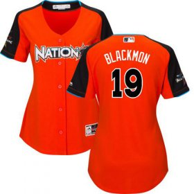 Wholesale Cheap Rockies #19 Charlie Blackmon Orange 2017 All-Star National League Women\'s Stitched MLB Jersey