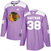 Wholesale Cheap Adidas Blackhawks #38 Ryan Hartman Purple Authentic Fights Cancer Stitched Youth NHL Jersey