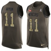 Wholesale Cheap Nike 49ers #11 Brandon Aiyuk Green Men's Stitched NFL Limited Salute To Service Tank Top Jersey