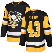 Wholesale Cheap Adidas Penguins #43 Conor Sheary Black Home Authentic Stitched NHL Jersey